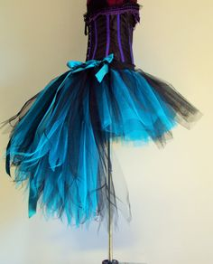 Black Burlesque Tutu Skirt Mermaid Peacock Turquoise Stunning Colours Trimmed With Matching Ribbon Bows