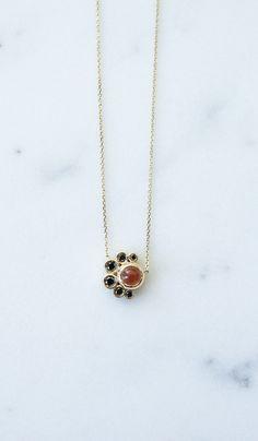 Mociun Sunstone and Black Diamond Crescent Necklace from Spartan