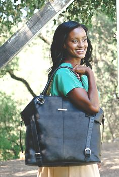 Charlie in Black. One of our best selling bags because it's gorgeous, super roomy and does not look like a diaper bag.
