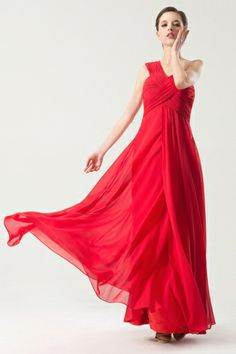 Red tone Simple One shoulder Empire Ruching Bridesmaid dress