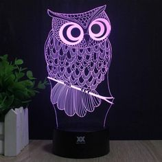 3D LED Owl Lamp ($40) ❤ liked on Polyvore featuring home and lighting