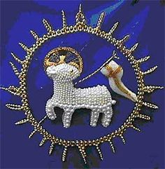 A lovely beaded version of The Paschal Lamb.