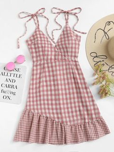 Casual Cami Plaid Flounce Loose Spaghetti Strap Sleeveless High Waist Pink Short Length Knot Shoulder Ruffle Hem Checked Cami Dress in 2020 Trendy Dresses, Cute Dresses, Casual Dresses, Casual Outfits, Summer Outfits, Cute Outfits, Summer Dresses, Casual Clothes, Stylish Clothes