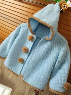 Erkek bebek kapşonlu hırka modelleri autour du tissu déco enfant paques bébé déco mariage diy et crochet Baby Boy Cardigan, Knitted Baby Cardigan, Knit Baby Sweaters, Hooded Cardigan, Hooded Jacket, Knitting For Kids, Baby Knitting Patterns, Baby Patterns, Knitting Tutorials