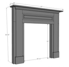 Template to build your own faux fireplace mantel...  What if... It was also a cabinet in the center so that it became a more user friendly version...with say dark cabinet doors/or mirrored doors slightly inset so that the mantel itself was still a visual showpiece...doors could hv a metal mesh like cover to imply a fire screen...hmmm maybe onto something ;)
