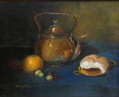"""Brass Teapot"" 12""x14"" oil on linen by Beverly Brown"
