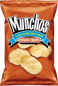 Munchos Potato Chips- my favorite chips, and yippee, I can still eat them because they don't have Gluten in them :)))