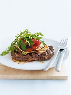 On the menu tonight - char-grilled beef with marinated capsicum salad by Donna Hay