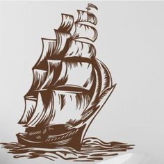 "Style and Apply Sail Away Wall Decal Color: Brown, Size: 54"" H x 46"" W"