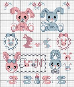 ils sont bien mignons en rose et bleu, il y a aussi un alphabet pour Pâques... Clic pour agrandir ! Les grilles sont à retrouver ICI Bonne broderie !