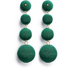 Kenneth Jay Lane 'Carnival' threaded sphere drop earrings (445 RON) ❤ liked on Polyvore featuring jewelry, earrings, green, kenneth jay lane earrings, kenneth jay lane, earring jewelry, green drop earrings and geometric jewelry