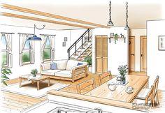 K39 建築パース 手描き 住宅内観 LDK 手書きインナー 名古屋                                 東京