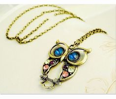 Crystal Owl Necklace Bronze Rhinestone Retro Vintage Long Chain Owl Pendant | eBay
