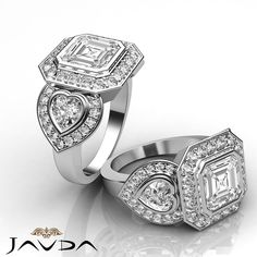 Asscher Diamond Three Stone Engagement GIA H VS2 14k White Gold Pave Ring 2.05ct