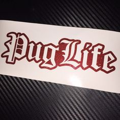 RED FLAKE GLITTER Pug Life Car Sticker Decal Peugeot Dog French Euro Old English #RitramaGemstone