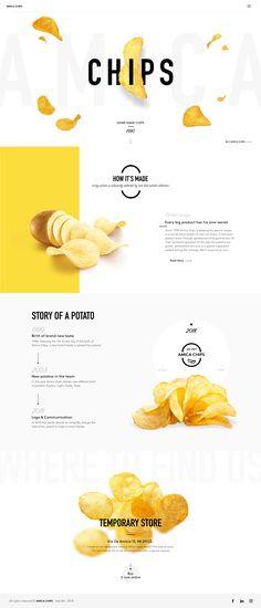 Amica chips - remake on Behance Web Design Trends, Design Websites, Food Web Design, Site Web Design, Layout Design, Website Design Layout, Web Layout, Ux Design, Design Agency