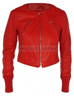 High-Class Women's Short Collarless Red Leather Jacket