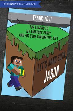 Minecraft Thank You Card  Minecraft Theme  by JenuineCards on Etsy #minecraft #minecraftthemed #minecraftparty #partysupplies #minecraftbirthday
