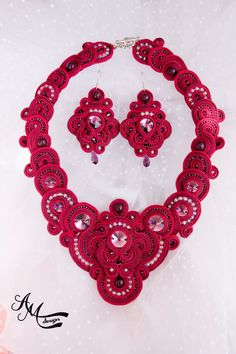 Statement Necklace Red Necklace Bib Necklace Crystal Necklace