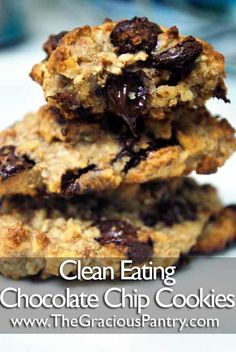 Clean Eating Chocolate Chip Cookies  •••••••••••••••••••••••••••••••••••••••••••••••   Ingredients  2/3 cup almonds  1/3 cup cooked oatmeal  3 tbsp. honey  1 tsp. vanilla  1 tsp. cinnamon  1/8 cup whole wheat pastry flour  1/2 cup grain sweetened chocolate chips (or dairy free chips)