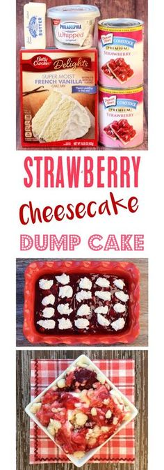 Strawberry Dump Cake Recipes!  This EASY Strawberry Cheesecake Dump Cake is the ultimate dessert, and just 4 Ingredients!  You just can't go wrong with strawberries and cream cheese! | TheFrugalGirls.com