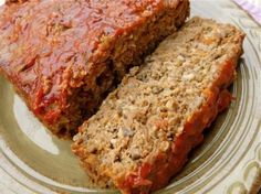 Weight Watchers Meatloaf - 6 Points+ for 2 slices!  -YUM.  Made double this recipe.  One loaf for my fam of 6, the other loaf sliced up and frozen in baggies with the points written on it.  A delicious 3 point snack/meal.