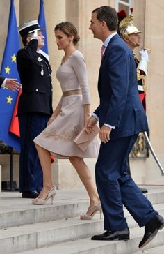 Spanish King Felipe VI and Queen Letizia at the Elysee Palace for an official visits on 22.07.2014 in Paris, France.