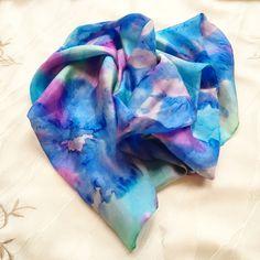 """Splash of Colour"" Green Turquoise, Blue Green, Purple, Silk Art, Silk Painting, 100 Pure, Dyes, Color Splash, Tie Dye Skirt"