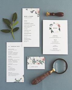 Floral, Botanical Wedding programs, menus and place cards by Rachel Marvin Creative