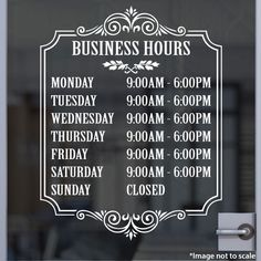 Our High Quality Lowest Price Custom Open Hour Signs add credibility and professionalism to your store front. Start your customer's first impression correctly by distinguishing yourself from the competitions! Made from quality Oracal 651 vinyl. Custom Window Decals, Vinyl Decals, Business Hours Sign, Custom Business Signs, Barber Shop Decor, Salon Signs, Sign Templates, Vinyl Signs, Sticker Shop