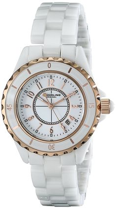 Stuhrling Original Women's 530.114EW3 Fusion Rose Gold-Layered White Ceramic Watch *** Want to know more, click on the image.