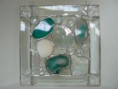 Beveled glass with Natural Brazilian Sliced Agate and Sea Shell Sun Catcher Stained Glass Ornaments, Stained Glass Suncatchers, Stained Glass Designs, Stained Glass Panels, Stained Glass Projects, Stained Glass Patterns, Stained Glass Art, Mosaic Glass, Beveled Glass