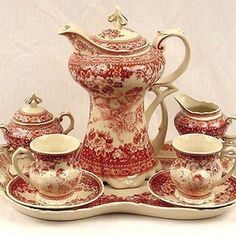 antique red transferware coffee set