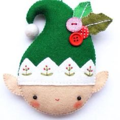 PDF pattern Christmas elf Felt Christmas ornament by iManuFatti Felt Christmas Ornaments, Christmas Love, Christmas Crafts, Christmas Decorations, Holiday Decor, Xmas, Christmas Ideas, Merry Christmas, Felt Patterns
