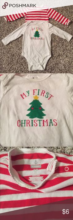 Set of two Old Navy Christmas onesies Two 6-12 month Christmas onesies.  One featuring red and white stripes with scalloped neckline, the other is white with Christmas tree and says My First Christmas. Old Navy One Pieces Bodysuits