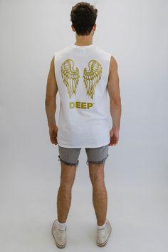 DEEP NO ANGEL Oversize Sleeveless Crew Neck T-Shirt - White with Gold Print