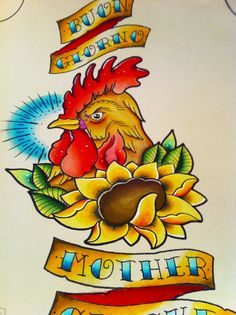 "Rooster tattoo flash! ""Buon giorno mother clucker"". If you like my work check out my instagram @blankenstein83 and facebook, www.facebook.com/blankensteinart."