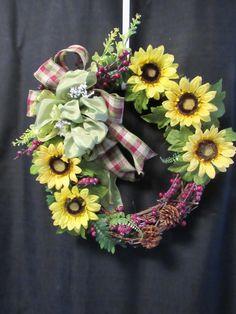 Fall Floral, Fall Wreath, Door Wreath, Fall Decor, Fall Colors, Sunflower Wreath