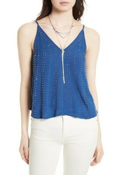 16d8bd3b758 FREE PEOPLE Embellished Tank Top in Dark Blue Size X-Small $68NWT OB567737 #