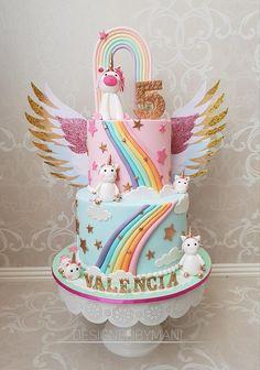 Birthday Cakes Girls Kids, Candy Birthday Cakes, 5th Birthday Cake, Themed Birthday Cakes, Birthday Ideas, Unicorn Themed Cake, Unicorn Themed Birthday Party, Rainbow Birthday, Unicorn Rainbow Cake