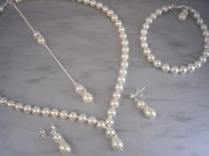 Victoria ~ Ivory Cream Pearl Backdrop Necklace Bracelet and Stud Dangle Earrings Jewellery Set, Bridal Wedding Bridesmaid Jewelry (v2f) by MyWeddingJewellery on Etsy https://www.etsy.com/listing/498762090/victoria-ivory-cream-pearl-backdrop