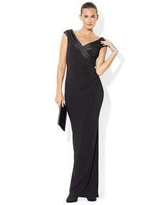 Lauren Ralph Lauren Sleeveless Portrait-Collar Draped Gown - Dresses - Women - Macy's