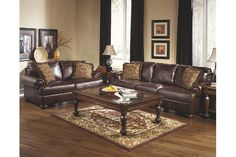 Rich Soft Deep Brown Leather Couch and Loveseat Set Detailed with Box-Stitch Design
