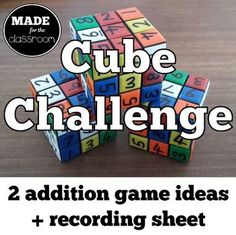 Your students will LOVE the novelty of this addition challenge. LOW PREP - Buy some cubes from a dollar store and write the numbers on. Print the instructions and recording sheet and you& ready to play! Addition Games, Recording Sheets, Math Concepts, Ready To Play, Elementary Math, Math Resources, Math Lessons, Maths, Cubes