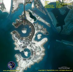 Satellite Image of Pearl-Qatar- The Pearl-Qatar, located in Doha, Qatar, is an artificial island that rests 350 meters from the West Bay Lagoon. Depicted in this half-meter WorldView-2 satellite image, the Pearl-Qatar will provide 32 kilometers of coastline and about 15,000 residences.