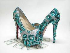 Christian Louboutin Daffodil Highness green sequinned pumps