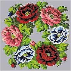 Embroidery Patterns Free, Hama Beads, Needlepoint, Needlework, Floral Wreath, Projects To Try, Cross Stitch, Lily, Tapestry