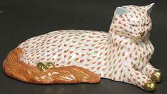 Herend Hand Painted Porcelain Figurine Large Cat Lying Down Rust Fishnet Gold Accents.