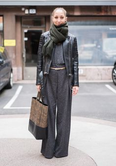 """""""I'm wearing my simple work outfit: a jacket by Bik Bok Never Denim, pants by Monki, a knit by J.Lindeberg, my mom's old belt, a scarf by Acne, and a Céline bag."""""""