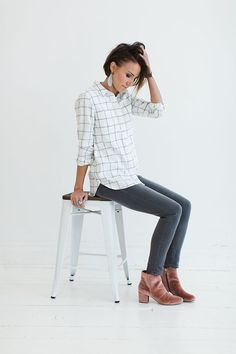 ONE little MOMMA: Spring-Ish. Outfit inspiration. How to wear flannel, gray denim, spring style, velvet booties, leather earrings.